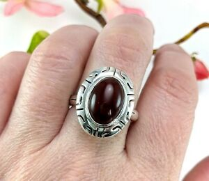 Oval Sterling Silver Red Carnelian Ring - CII Mexico - Size T - Statement