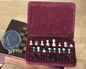 Vintage 80s Dollhouse Complete Chess Set 1:12 Miniature