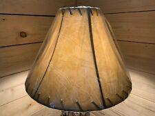 """Rustic Faux Leather Laced Bell Lamp Shade - 14"""""""