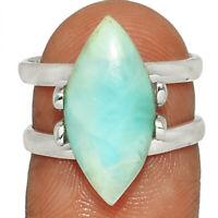 Genuine Larimar - Dominican Republic 925 Silver Jewelry Ring s.6.5 AR215371  XGB