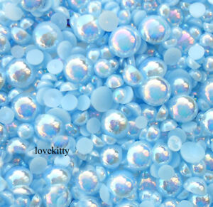 800 pcs AB Light Blue Flatback Round Half Faux Pearls Beads DIY Crafts Nail Art