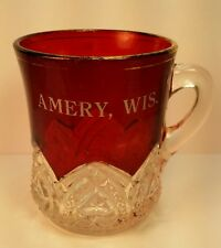 Old EAPG Souvenir Ruby Red Flash Glass Cup Amery WI Wis Wisconsin Polk County