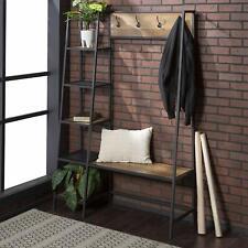 Rustic Oak Metal Wooden Hall Tree Coat Rack Storage Shelves Stand Entryway Bench