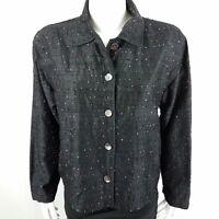 Chico's Design Women's Jacket Size 1 Long Sleeve Beaded Silk Black