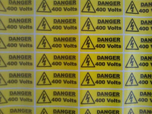 40 X Danger 400 volt stickers 50mm X 20mm Warning & Safety Signs