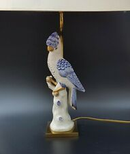French Mid Century Hollywood Regency Ceramic Parrot Table Lamp Circa 1970