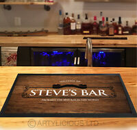 Personalised bar runner Classic Wood effect Beer label Wine mats Cocktail & Pubs