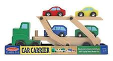 NEW Melissa & Doug 6pc Wooden CAR CARRIER 4 CARS & SEMI TRUCK Dbl Decker Ramps!