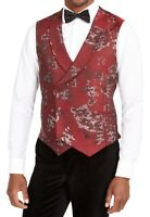 Tallia Mens Suit Vest Red Size Medium M Double Breasted Floral Jacquard $125 093