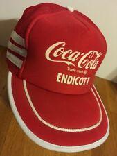 Vintage Coca-Cola Coke Mesh Trucker Hat Endicott Red w/ White Stripes RARE