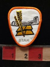 Vtg Orange Border Version - Utah Patch - Wheat Grain / Agriculture C754