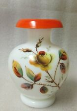 """VICTORIAN MILK GLASS POT BELLY Vase Hand Painted Yellow Rose Bud Rolled Rim 4.5"""""""