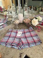 Ralph Lauren Sport Women's Linen Plaid Summer Shorts NWT Size 14 Waist $129