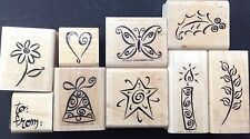 Rubber Stamp Lot 9 All Occasion Gift Tag Kit Leaf Flower Heart Holly Stampin' Up