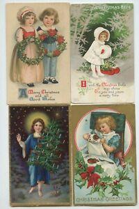 ANTIQUE LOT OF 8 CHRISTMAS POSTCARDS A COUPLE WOLF CLAPSADDLE CHILDREN SNOWMAN
