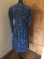 Vintage Laura Ashley Floral Needle Cord Dress With Pockets Size 14
