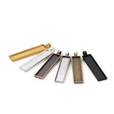 5Pcs Rectangle Bezels Blank Pendant Cabochon Base Setting Jewelry Making 10*50mm