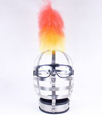 Silver Locking Stainless Steel Slave pony girl  head cage, with collar