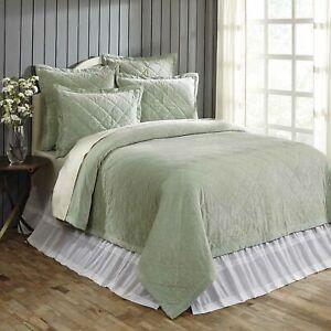 VHC Brands Farmhouse Queen Quilt Green Lydia Sea Glass Velvet Bedroom Decor