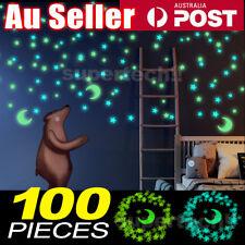 Moon & 100 Star Night Light Glow In The Dark Wall Decal Ceiling Sticker Decor AU