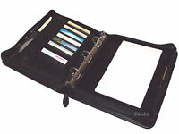 New, Zippered, Padfolio Organizer, 3 Metals Rings, Jr Legal Pad, Black