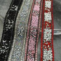 1Y Sew On Iron Shiny Rhinestone Acrylic Beads Trim Crystal Applique Decoration