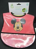 Disney Baby Crumb Catcher Bibs Mickey Mouse Waterproof 0-18 Months BPA 2 Pack