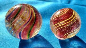 Large Nice pair of Antique German German Marbles  1.29 & 1.43