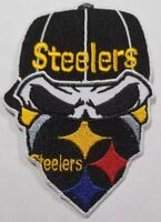 Pittsburgh Steelers~Iron On Skull with Bandana Patch~Free Shipping from the USA~