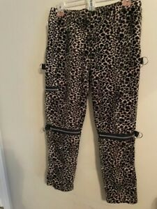 Vintage Dogpile Leopard Print Small Men Pants with Multiple zippers (B7)