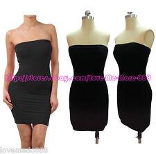 Casual Club Party Tube Strapless Tight Slim Fit Bodycon Mini Dresses BLACK Small