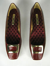 Enzo Angiolini Pumps Size 9.5 M Patent Leather Burgundy Goldtone Buckle Earcosie
