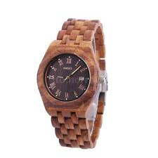 Men's Wooden Strap Casual Wristwatches with 12-Hour Dial