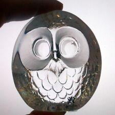 Mats Jonasson Maleras Verre Hibou paperweight, signé, Suédois Art Glass