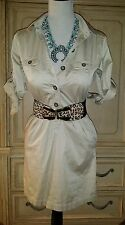 ANN TAYLOR LOFT KHAKI SAFARI DRESS BUTTONED WOMEN SIZE XS