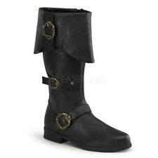 CARRIBEAN-299 MEN PIRATE RIDING COSTUME GOTH KNEE HIGH 3-BUCKLES FOLDED BOOT