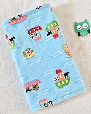 Handcrafted, Blue Flannel Boat / Animals & White Minky Bubble Baby Burp Cloth