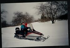 Vintage Photograph Two Adorable Little Boys Riding on Snowmobile