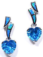 Heart Blue Topaz & Blue Fire Opal Inlay 925 Sterling Silver Dangle Post Earrings