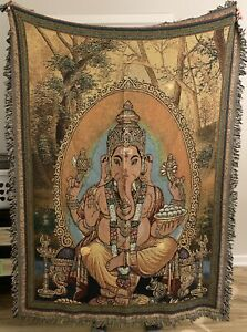 "Ganesha Hindu God Of Prosperity & Wisdom Woven Tapestry Or Throw Blanket 50x70"""