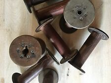 Large Vintage Wooden Thread Spools Antique Bobbins Spindles Cones