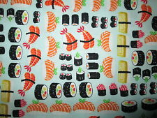 Sushi Fish Realistic Food Aqua Cotton Fabric FQ