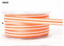 "3/8"" Grosgrain Stripes Ribbon - May Arts - WB28 - Orange/White - 5 Yds."