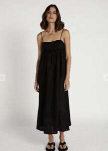 Dissh Madox Linen Dress Black Size 8