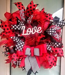 Handmade Valentine's Day Wreath Red & Black Deco Mesh & Feather Wall Door Decor