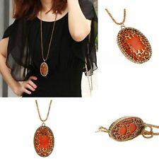 Classic Vintage Amber Long Chain Necklace Hollow Pendant