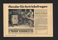 BERLIN BRESLAU, Werbung 1935, A. Friedr. Flender & Co. Antriebe Variator Typ AS