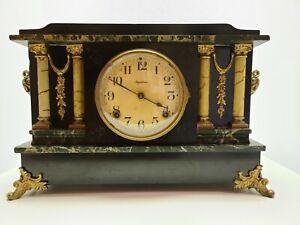 Antique Working 19th C Ingraham Ornate Victorian Footed Ebony Mantel Shelf Clock