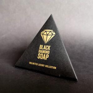 Schwarze Seife mit Aktivkohle, 100% natural, VEGAN, Black Diamond Soap, 5g