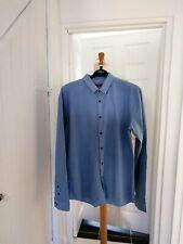 Para Hombre Hugo Boss Azul Camisa Tamaño XL Calce Ajustado Algodón